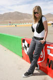 Carmen Electra shows pokies in white top at Dodge Challenger Celebrity Drag Race at the Willow Springs Raceway in Rosamond