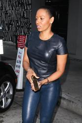 Melanie Brown - In Blue Leathers Leaving Her Hotel in Beverly Hills (6/13/15)